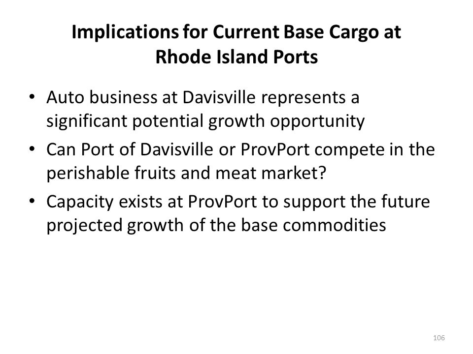 Implications for Current Base Cargo at Rhode Island Ports Auto business at Davisville represents a significant potential growth opportunity Can Port of Davisville or ProvPort compete in the perishable fruits and meat market.