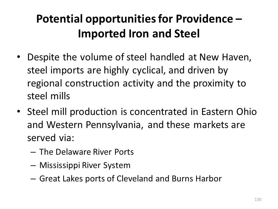 Potential opportunities for Providence – Imported Iron and Steel Despite the volume of steel handled at New Haven, steel imports are highly cyclical, and driven by regional construction activity and the proximity to steel mills Steel mill production is concentrated in Eastern Ohio and Western Pennsylvania, and these markets are served via: – The Delaware River Ports – Mississippi River System – Great Lakes ports of Cleveland and Burns Harbor 130
