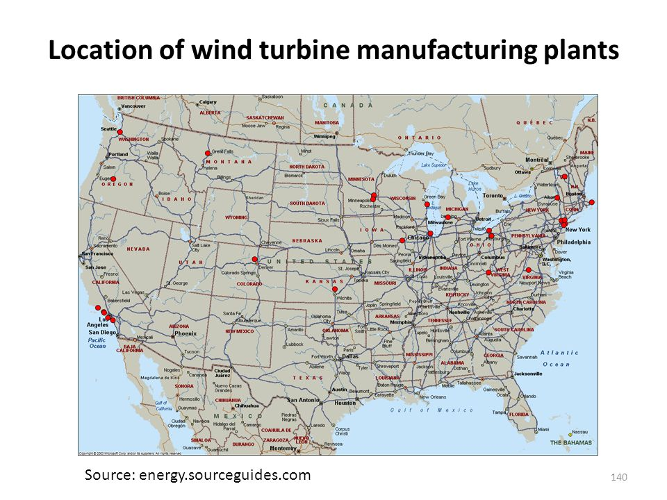 Location of wind turbine manufacturing plants 140 Source: energy.sourceguides.com