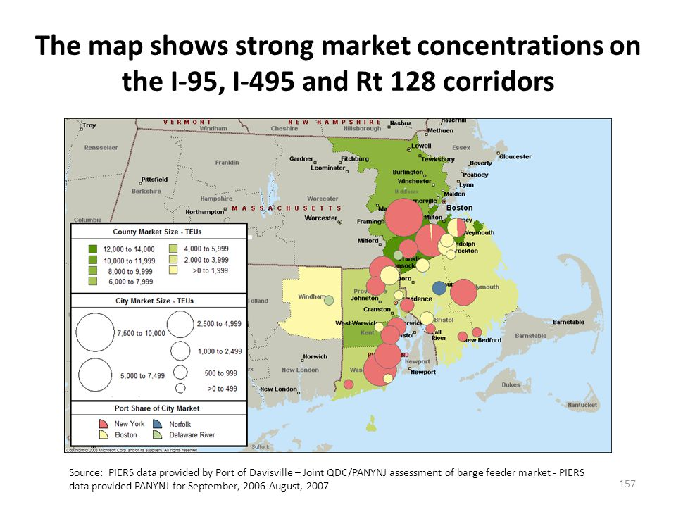 The map shows strong market concentrations on the I-95, I-495 and Rt 128 corridors Source: PIERS data provided by Port of Davisville – Joint QDC/PANYNJ assessment of barge feeder market - PIERS data provided PANYNJ for September, 2006-August, 2007 157