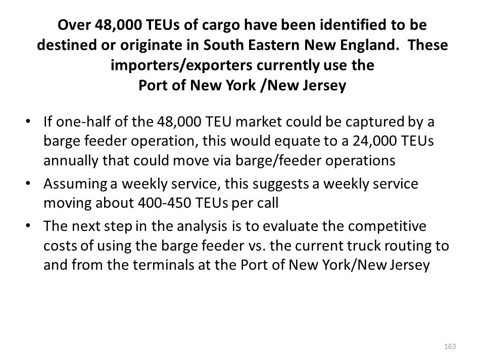 Over 48,000 TEUs of cargo have been identified to be destined or originate in South Eastern New England.