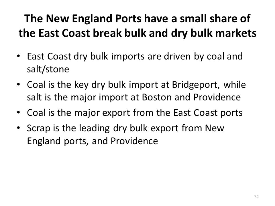 The New England Ports have a small share of the East Coast break bulk and dry bulk markets East Coast dry bulk imports are driven by coal and salt/stone Coal is the key dry bulk import at Bridgeport, while salt is the major import at Boston and Providence Coal is the major export from the East Coast ports Scrap is the leading dry bulk export from New England ports, and Providence 74