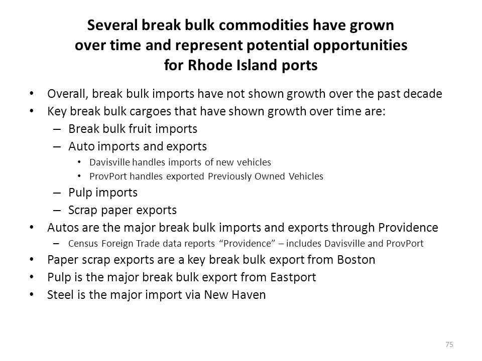 Several break bulk commodities have grown over time and represent potential opportunities for Rhode Island ports Overall, break bulk imports have not shown growth over the past decade Key break bulk cargoes that have shown growth over time are: – Break bulk fruit imports – Auto imports and exports Davisville handles imports of new vehicles ProvPort handles exported Previously Owned Vehicles – Pulp imports – Scrap paper exports Autos are the major break bulk imports and exports through Providence – Census Foreign Trade data reports Providence – includes Davisville and ProvPort Paper scrap exports are a key break bulk export from Boston Pulp is the major break bulk export from Eastport Steel is the major import via New Haven 75