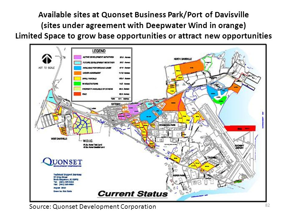 Available sites at Quonset Business Park/Port of Davisville (sites under agreement with Deepwater Wind in orange) Limited Space to grow base opportunities or attract new opportunities 82 Source: Quonset Development Corporation