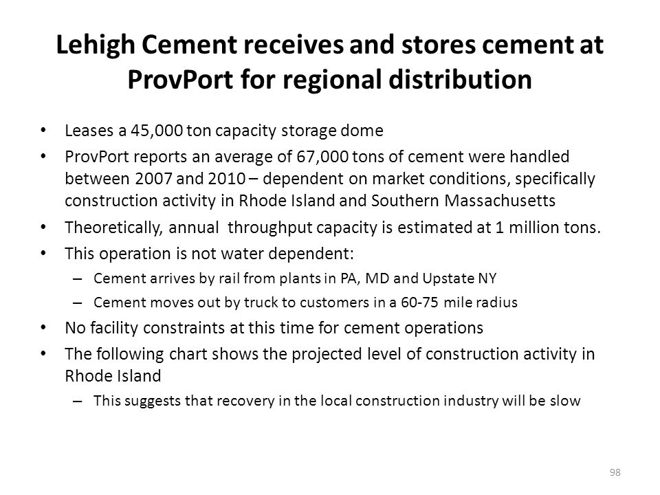 Lehigh Cement receives and stores cement at ProvPort for regional distribution Leases a 45,000 ton capacity storage dome ProvPort reports an average of 67,000 tons of cement were handled between 2007 and 2010 – dependent on market conditions, specifically construction activity in Rhode Island and Southern Massachusetts Theoretically, annual throughput capacity is estimated at 1 million tons.