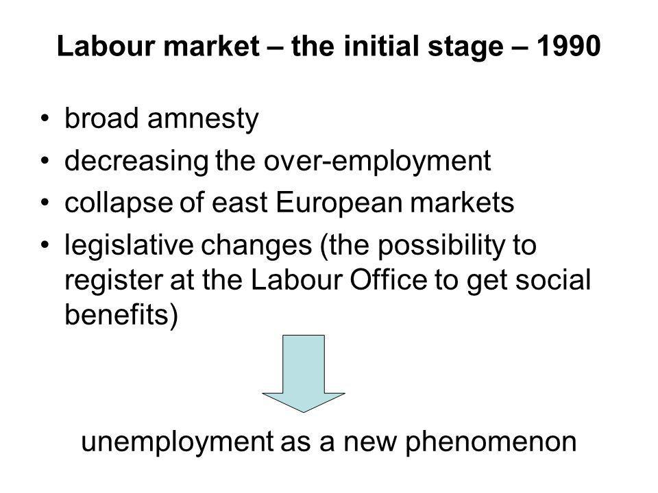 Labour market – the initial stage – 1990 broad amnesty decreasing the over-employment collapse of east European markets legislative changes (the possibility to register at the Labour Office to get social benefits) unemployment as a new phenomenon