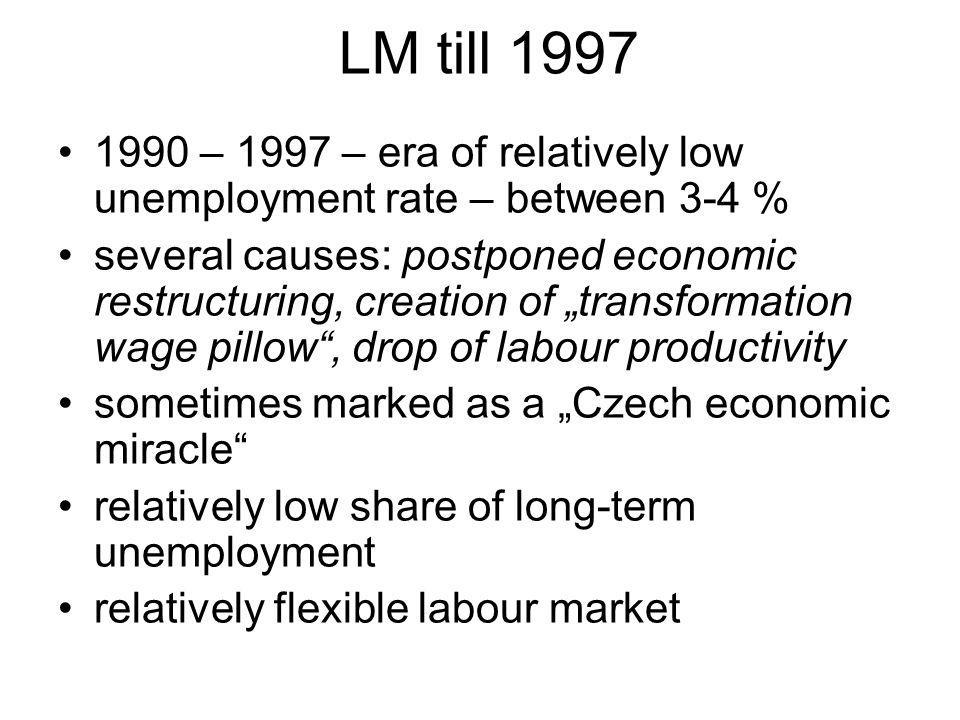 LM till 1997 1990 – 1997 – era of relatively low unemployment rate – between 3-4 % several causes: postponed economic restructuring, creation of transformation wage pillow, drop of labour productivity sometimes marked as a Czech economic miracle relatively low share of long-term unemployment relatively flexible labour market