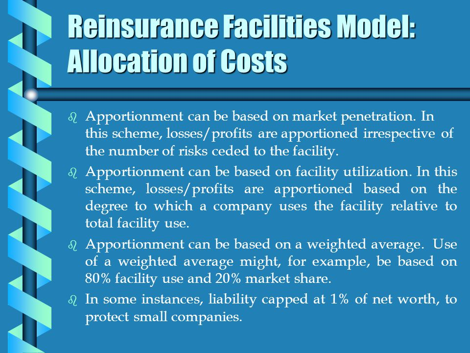 Reinsurance Facilities Model: Allocation of Costs b b Apportionment can be based on market penetration.