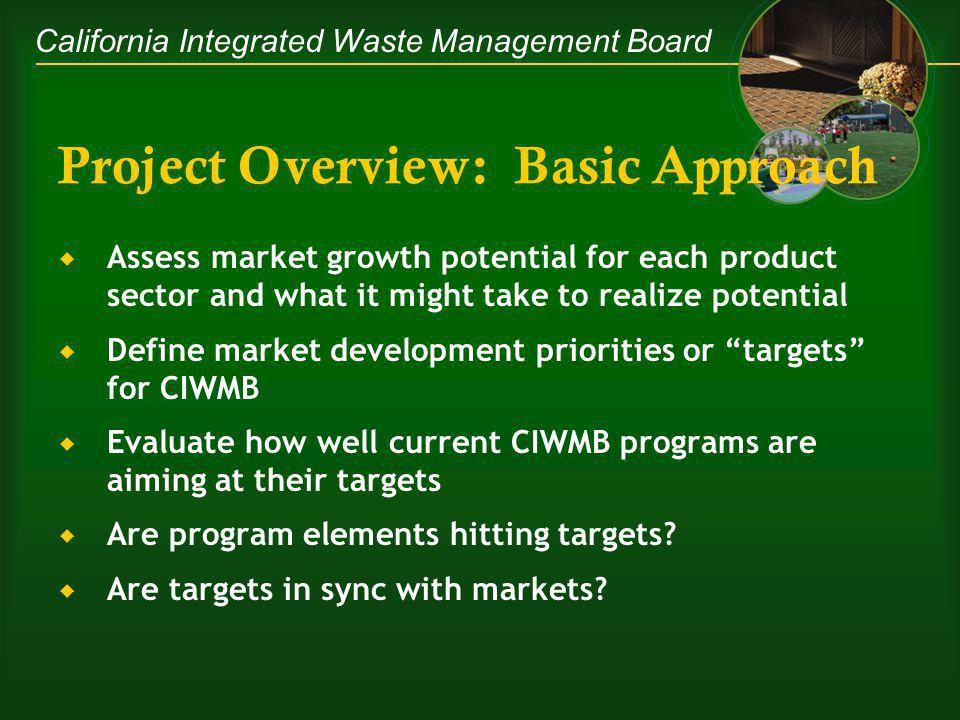California Integrated Waste Management Board Project Overview: Basic Approach Assess market growth potential for each product sector and what it might take to realize potential Define market development priorities or targets for CIWMB Evaluate how well current CIWMB programs are aiming at their targets Are program elements hitting targets.