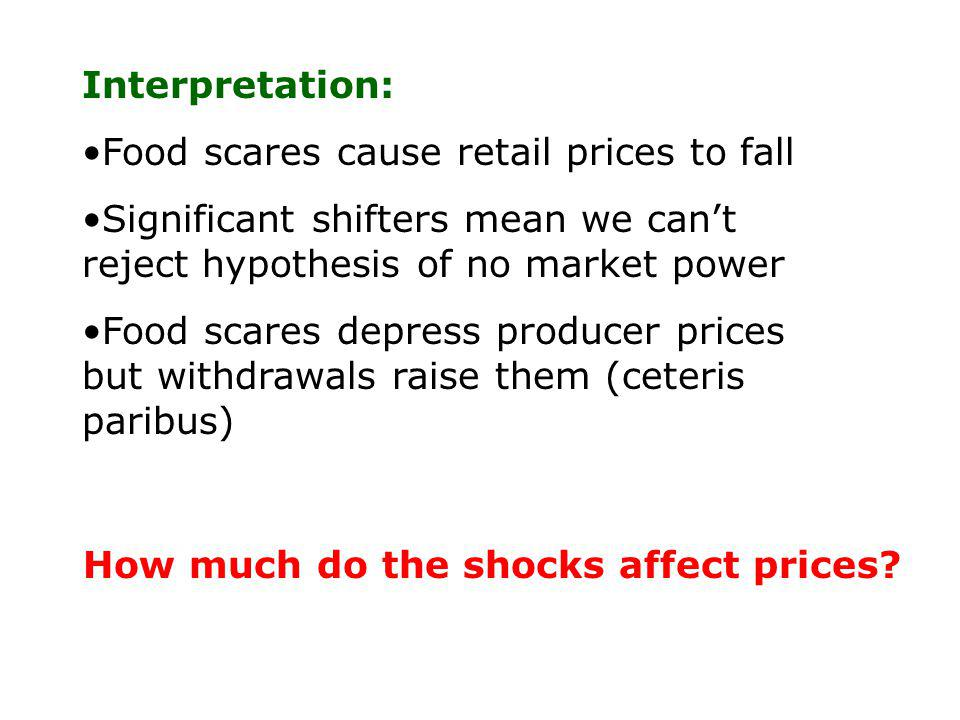 Interpretation: Food scares cause retail prices to fall Significant shifters mean we cant reject hypothesis of no market power Food scares depress producer prices but withdrawals raise them (ceteris paribus) How much do the shocks affect prices