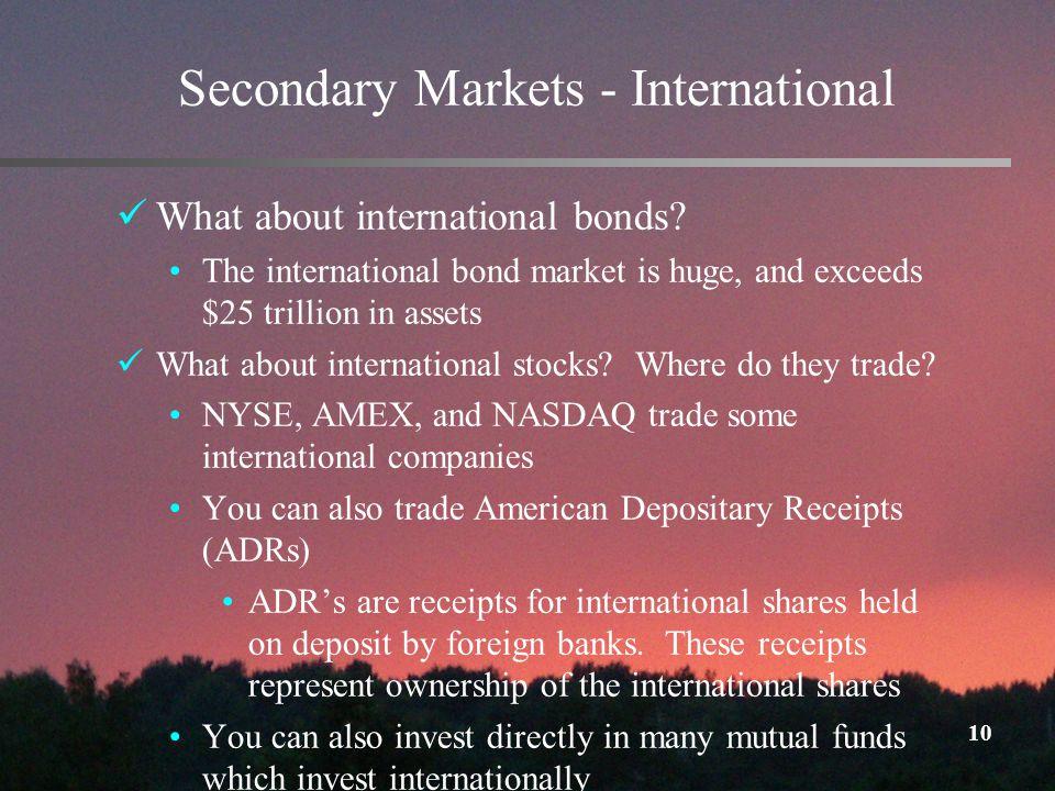 10 Secondary Markets - International What about international bonds.