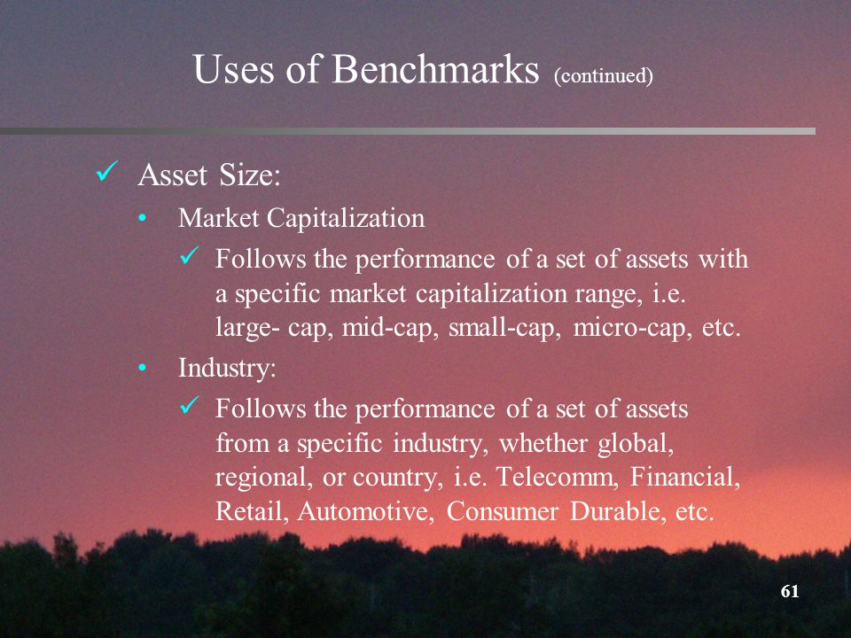61 Uses of Benchmarks (continued) Asset Size: Market Capitalization Follows the performance of a set of assets with a specific market capitalization range, i.e.