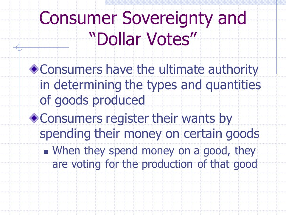 Consumer Sovereignty and Dollar Votes Consumers have the ultimate authority in determining the types and quantities of goods produced Consumers register their wants by spending their money on certain goods When they spend money on a good, they are voting for the production of that good