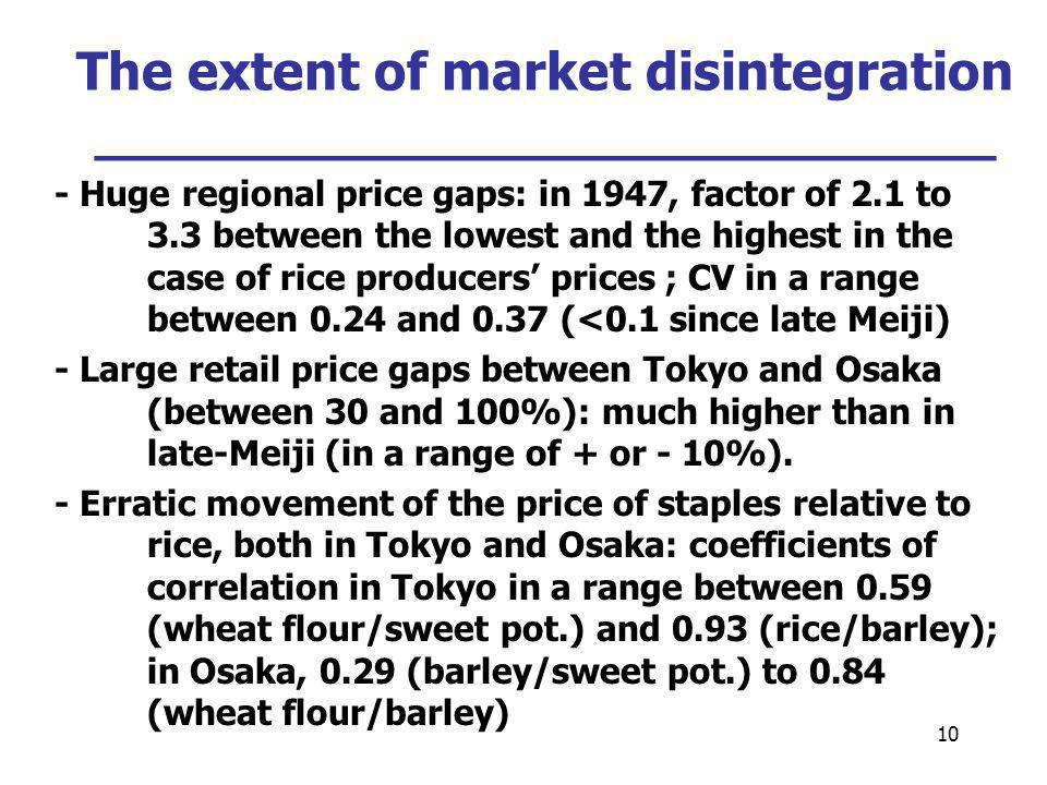 10 The extent of market disintegration ___________________________ - Huge regional price gaps: in 1947, factor of 2.1 to 3.3 between the lowest and the highest in the case of rice producers prices ; CV in a range between 0.24 and 0.37 (<0.1 since late Meiji) - Large retail price gaps between Tokyo and Osaka (between 30 and 100%): much higher than in late-Meiji (in a range of + or - 10%).