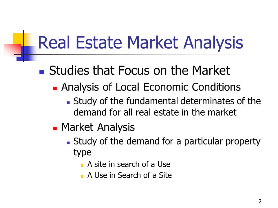 3 Real Estate Market Analysis Marketability Analysis Study of a specific development or property to assess its competitive position Studies That Focus on Individual Decisions Feasibility Analysis Evaluates a specific project as to whether or not it is likely to be carried out successfully Investment Analysis Evaluates a specific property as a potential investment.