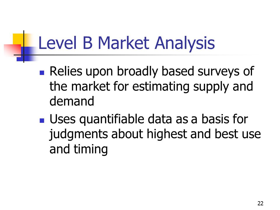22 Level B Market Analysis Relies upon broadly based surveys of the market for estimating supply and demand Uses quantifiable data as a basis for judg