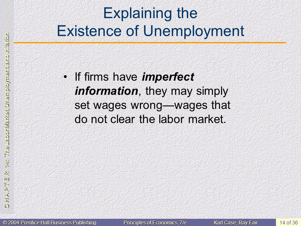 C H A P T E R 14: The Labor Market, Unemployment, and Inflation © 2004 Prentice Hall Business PublishingPrinciples of Economics, 7/eKarl Case, Ray Fair 14 of 36 Explaining the Existence of Unemployment If firms have imperfect information, they may simply set wages wrongwages that do not clear the labor market.