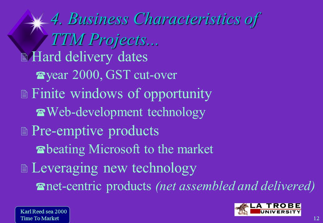 12 Karl Reed sea 2000 Time To Market 4. Business Characteristics of TTM Projects...