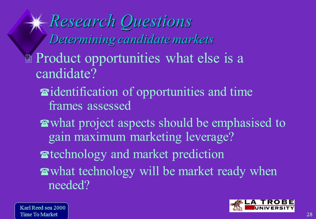 28 Karl Reed sea 2000 Time To Market Research Questions Determining candidate markets Product opportunities what else is a candidate.