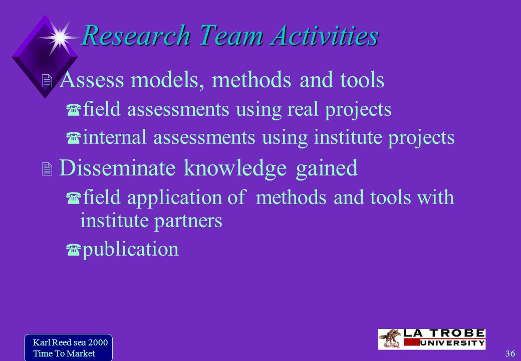 36 Karl Reed sea 2000 Time To Market Research Team Activities Assess models, methods and tools field assessments using real projects internal assessments using institute projects Disseminate knowledge gained field application of methods and tools with institute partners publication