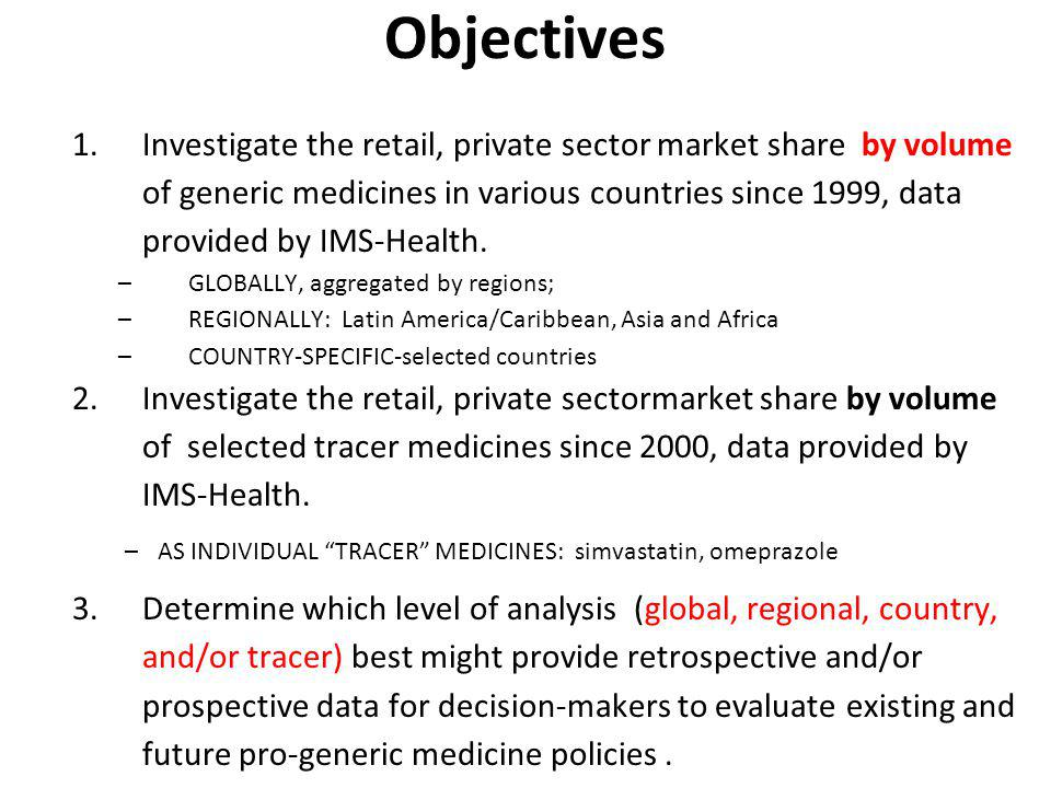 Objectives 1.Investigate the retail, private sector market share by volume of generic medicines in various countries since 1999, data provided by IMS-Health.