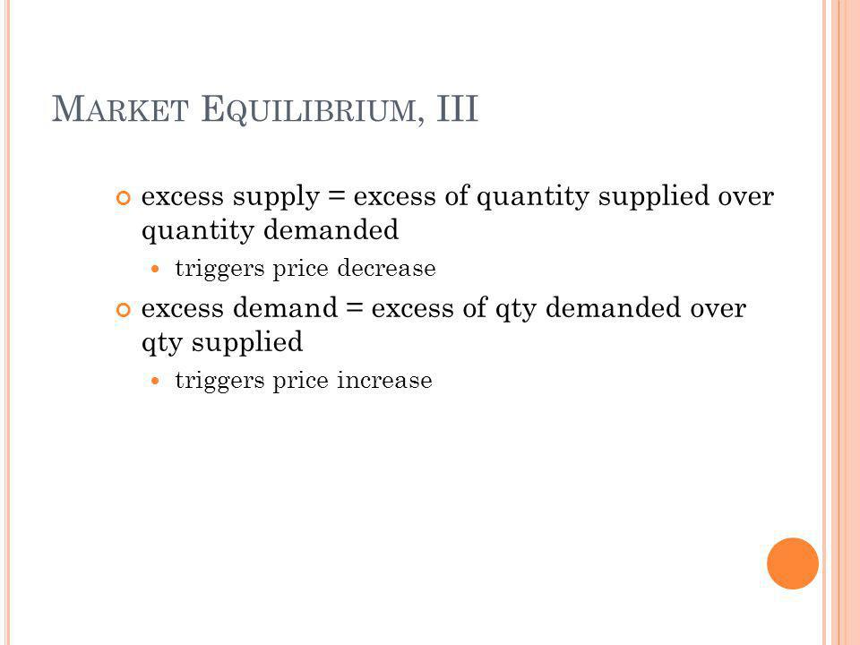 M ARKET E QUILIBRIUM, III excess supply = excess of quantity supplied over quantity demanded triggers price decrease excess demand = excess of qty demanded over qty supplied triggers price increase