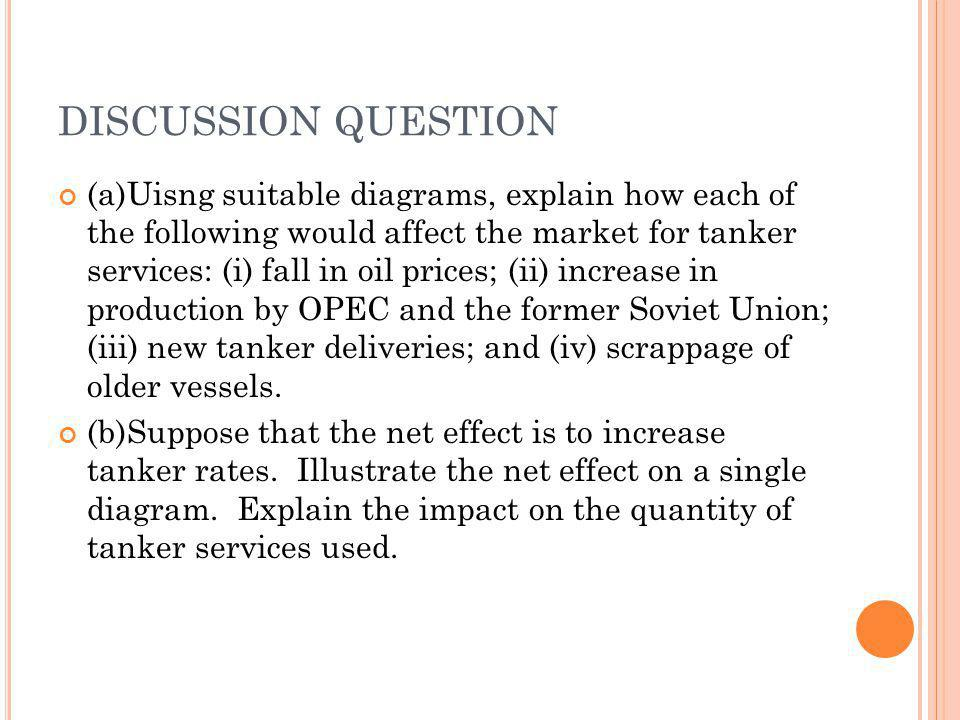 DISCUSSION QUESTION (a)Uisng suitable diagrams, explain how each of the following would affect the market for tanker services: (i) fall in oil prices; (ii) increase in production by OPEC and the former Soviet Union; (iii) new tanker deliveries; and (iv) scrappage of older vessels.