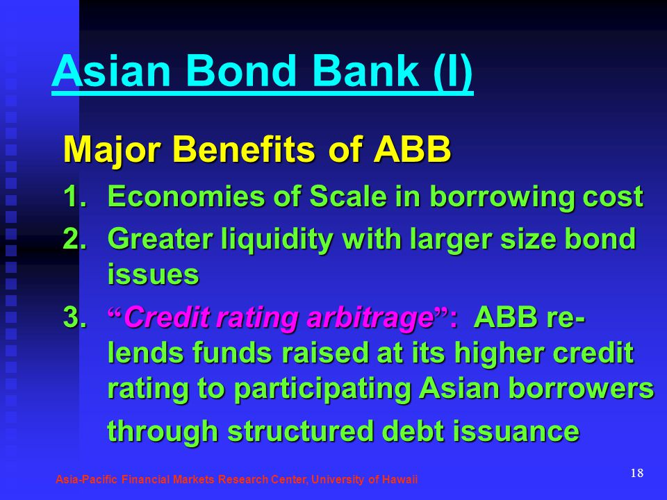 18 Asian Bond Bank (I) Major Benefits of ABB 1.Economies of Scale in borrowing cost 2.Greater liquidity with larger size bond issues 3. Credit rating