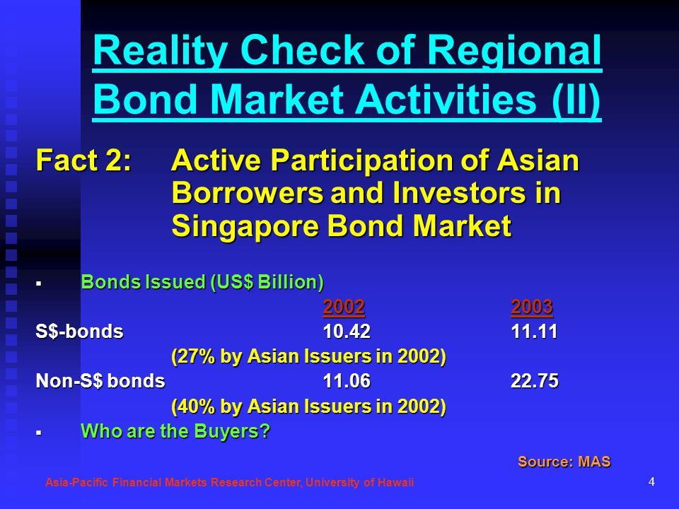 4 Reality Check of Regional Bond Market Activities (II) Fact 2: Active Participation of Asian Borrowers and Investors in Singapore Bond Market Bonds I