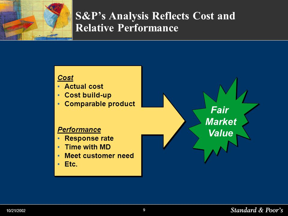 9 10/21/2002 S&Ps Analysis Reflects Cost and Relative Performance Cost Actual cost Cost build-up Comparable product Performance Response rate Time with MD Meet customer need Etc.