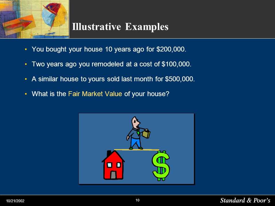 10 10/21/2002 Illustrative Examples You bought your house 10 years ago for $200,000. Two years ago you remodeled at a cost of $100,000. A similar hous