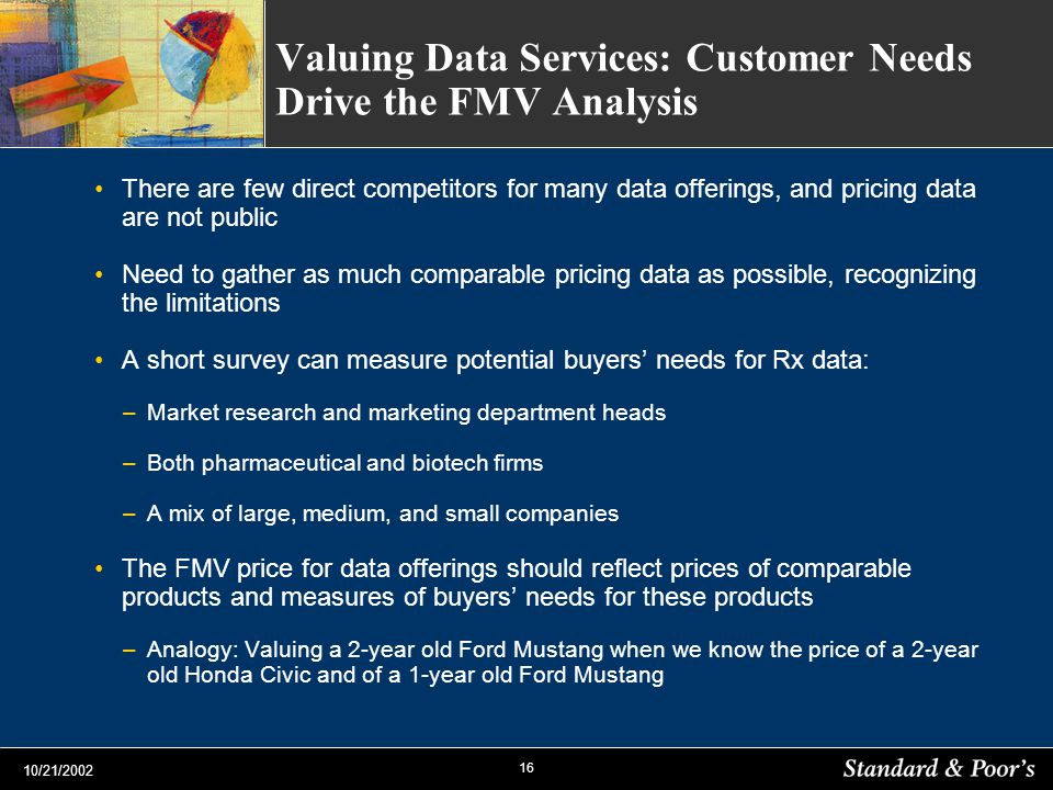 16 10/21/2002 Valuing Data Services: Customer Needs Drive the FMV Analysis There are few direct competitors for many data offerings, and pricing data are not public Need to gather as much comparable pricing data as possible, recognizing the limitations A short survey can measure potential buyers needs for Rx data: –Market research and marketing department heads –Both pharmaceutical and biotech firms –A mix of large, medium, and small companies The FMV price for data offerings should reflect prices of comparable products and measures of buyers needs for these products –Analogy: Valuing a 2-year old Ford Mustang when we know the price of a 2-year old Honda Civic and of a 1-year old Ford Mustang