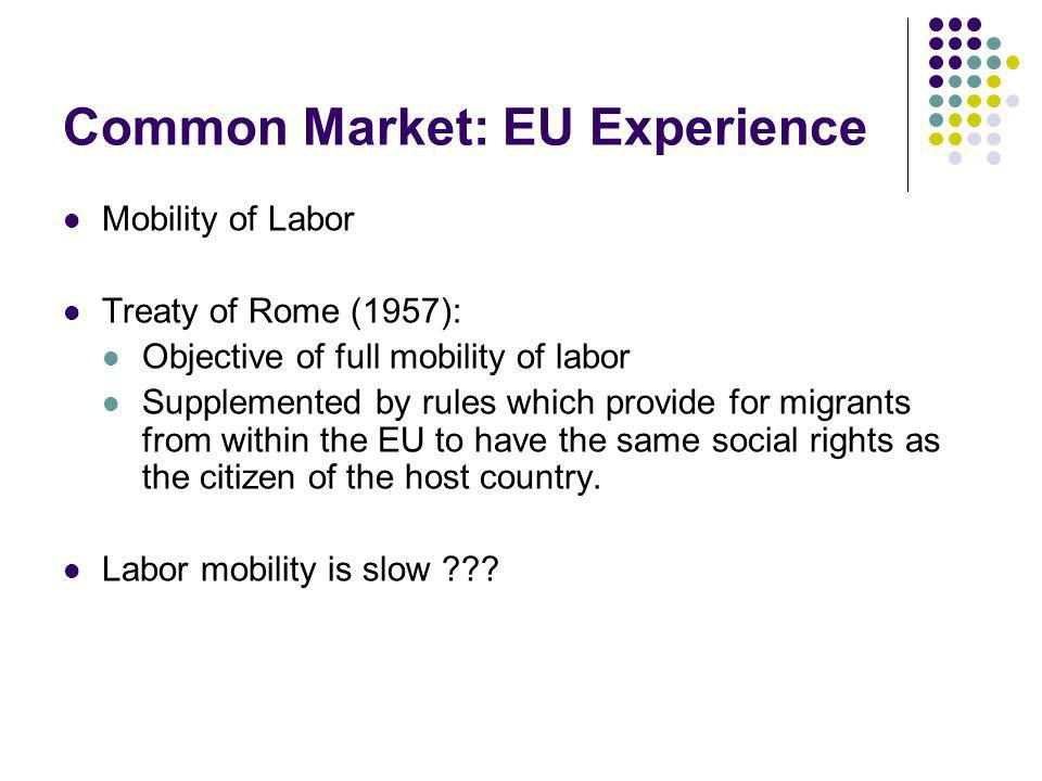 Common Market: EU Experience Mobility of Labor Treaty of Rome (1957): Objective of full mobility of labor Supplemented by rules which provide for migr