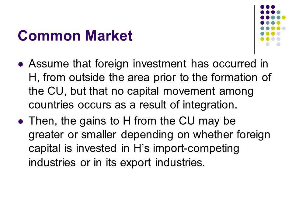 Common Market If the high cost firm in H is foreign-owned and following the formation of the CU, production is transferred to a locally-owned company in P, the fall in production in H will be a loss to the foreign company, not to domestic producers foreign profit diversion Gain from the formation of the CU will be greater than in the basic case