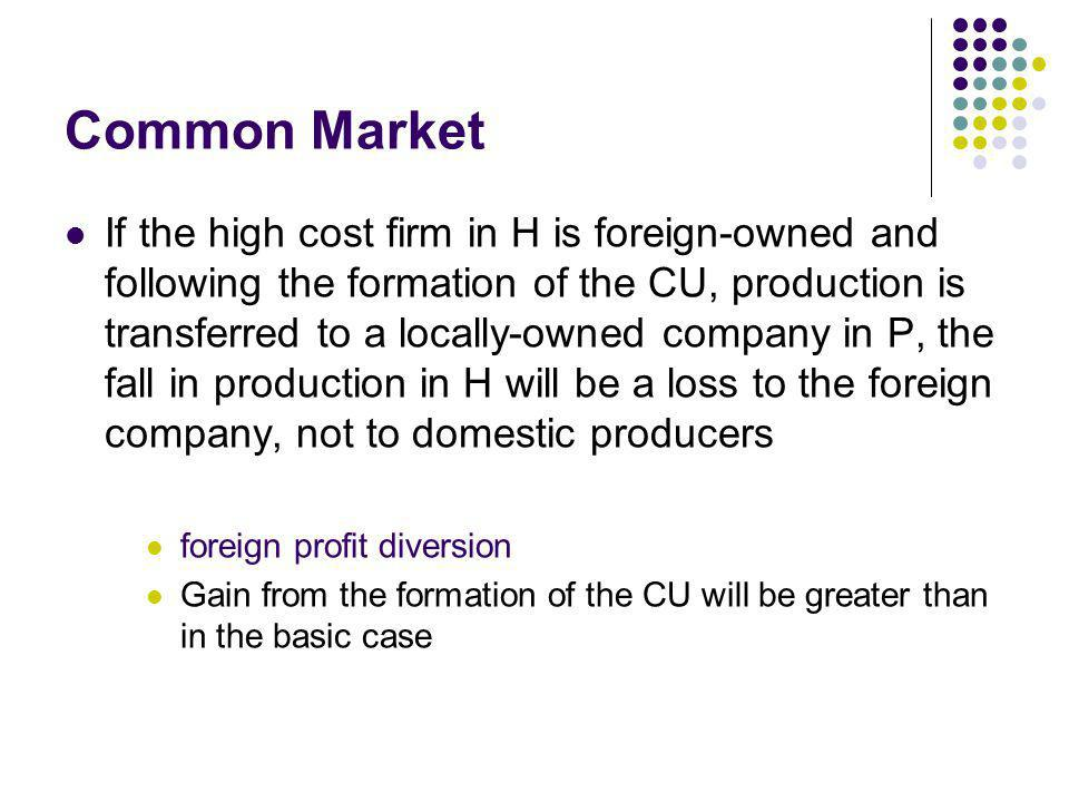 Common Market If the high cost firm in H is foreign-owned and following the formation of the CU, production is transferred to a locally-owned company