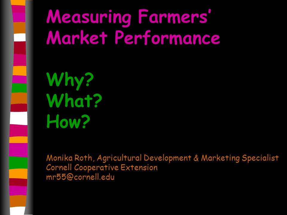 Measuring Farmers Market Performance Why. What. How.