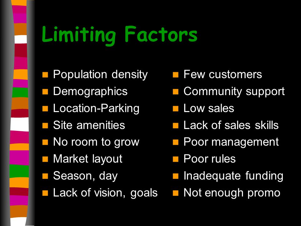 Limiting Factors Population density Demographics Location-Parking Site amenities No room to grow Market layout Season, day Lack of vision, goals Few customers Community support Low sales Lack of sales skills Poor management Poor rules Inadequate funding Not enough promo