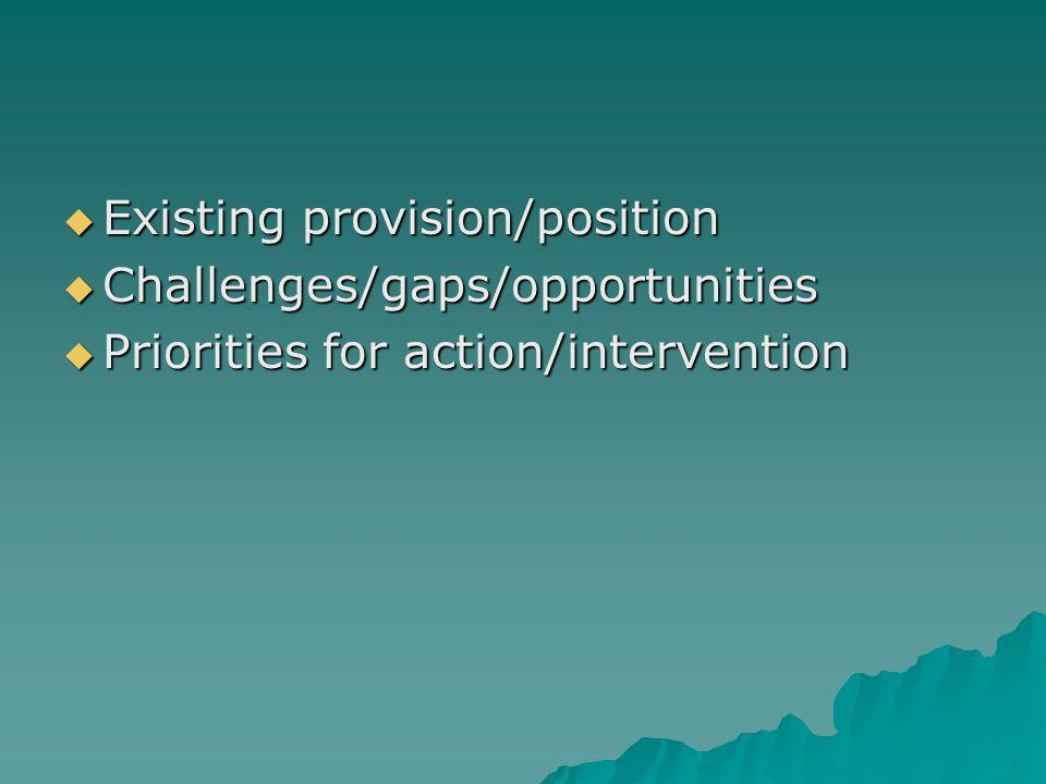 Existing provision/position Existing provision/position Challenges/gaps/opportunities Challenges/gaps/opportunities Priorities for action/intervention Priorities for action/intervention