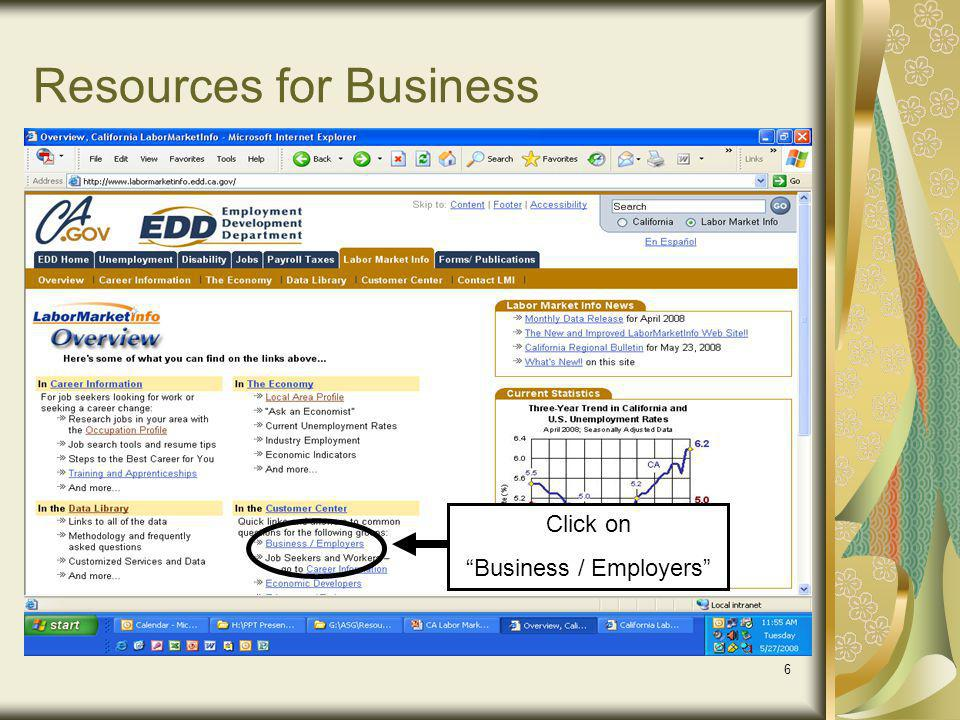 6 Resources for Business Click on Business / Employers