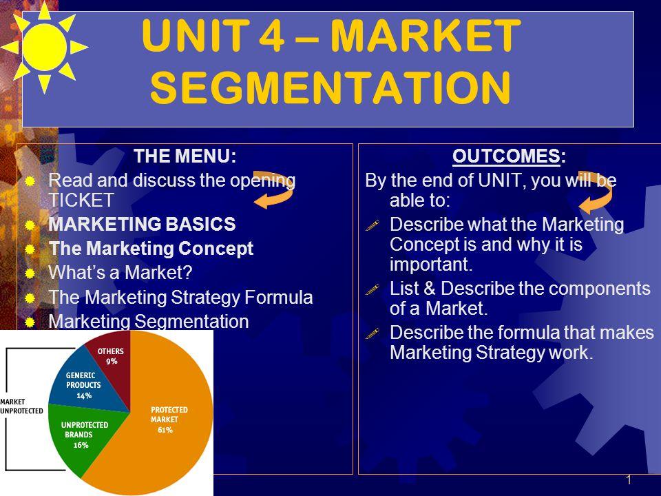 UNIT 4 – MARKET SEGMENTATION THE MENU: Read and discuss the opening TICKET MARKETING BASICS The Marketing Concept Whats a Market? The Marketing Strate
