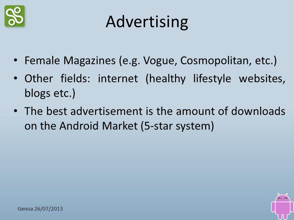 Advertising Female Magazines (e.g. Vogue, Cosmopolitan, etc.) Other fields: internet (healthy lifestyle websites, blogs etc.) The best advertisement i