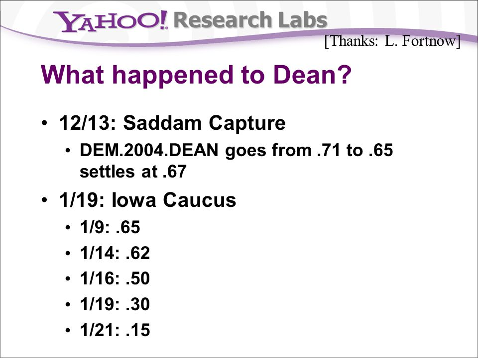 Research Labs What happened to Dean.