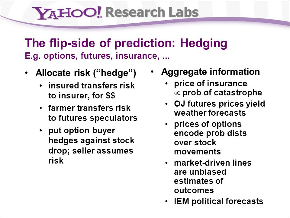 Research Labs The flip-side of prediction: Hedging E.g. options, futures, insurance,... Allocate risk (hedge) insured transfers risk to insurer, for $