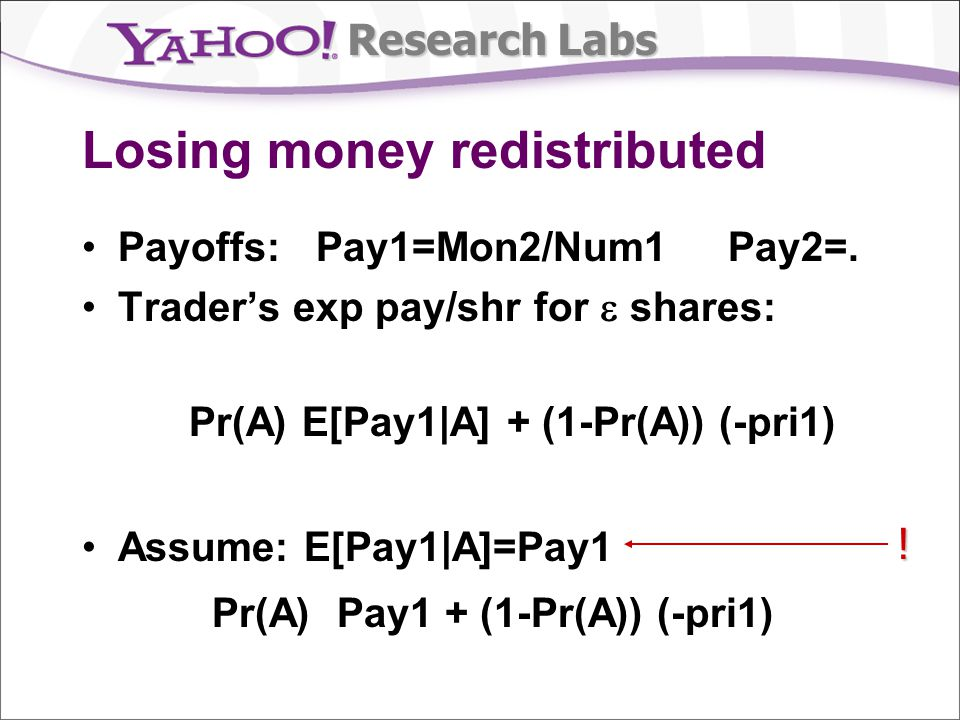 Research Labs Losing money redistributed Payoffs: Pay1=Mon2/Num1 Pay2=.