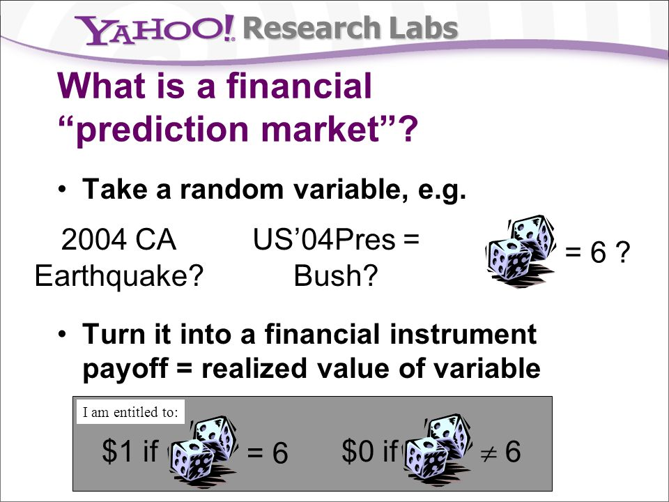 Research Labs Intermediate redistributions For tracking repeated statistic Interest rate Real estate index Oil prices Redistribute money according to statistic at repeated intervals p i /p j = M i /M j No loss of money; continuity Traditional MM (incl.