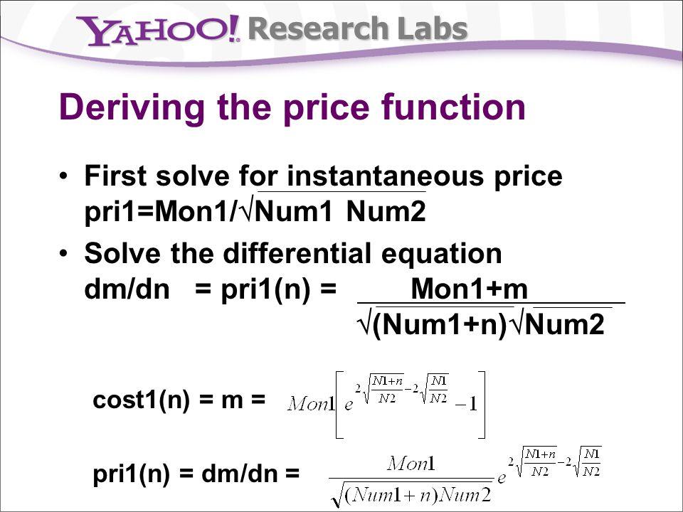 Research Labs Deriving the price function First solve for instantaneous price pri1=Mon1/ Num1 Num2 Solve the differential equation dm/dn = pri1(n) = Mon1+m (Num1+n) Num2 cost1(n) = m = pri1(n) = dm/dn =