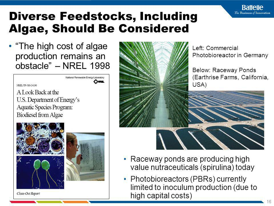 16 Diverse Feedstocks, Including Algae, Should Be Considered The high cost of algae production remains an obstacle – NREL 1998 Raceway ponds are producing high value nutraceuticals (spirulina) today Photobioreactors (PBRs) currently limited to inoculum production (due to high capital costs) Left: Commercial Photobioreactor in Germany Below: Raceway Ponds (Earthrise Farms, California, USA)