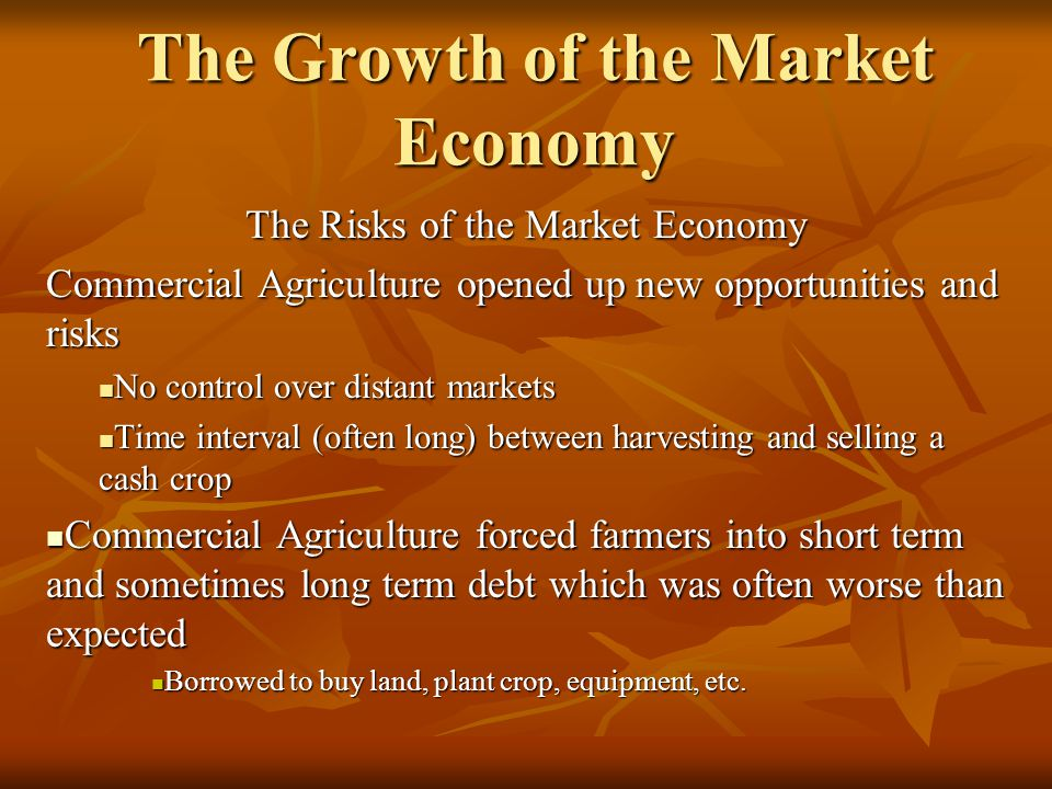 The Growth of the Market Economy The Risks of the Market Economy Commercial Agriculture opened up new opportunities and risks No control over distant