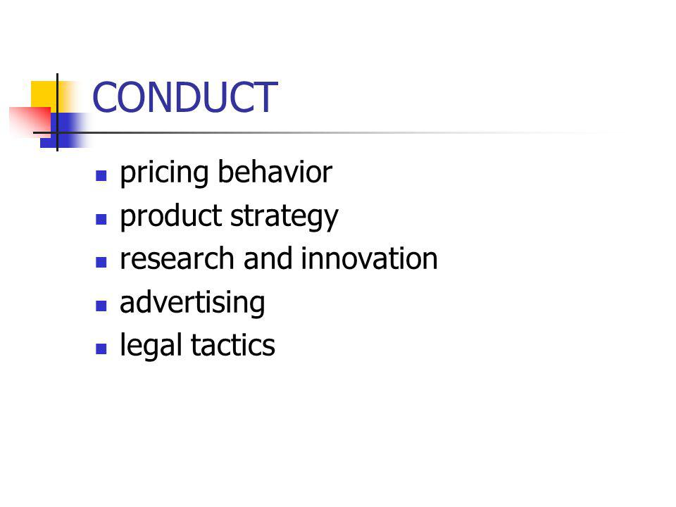 CONDUCT pricing behavior product strategy research and innovation advertising legal tactics