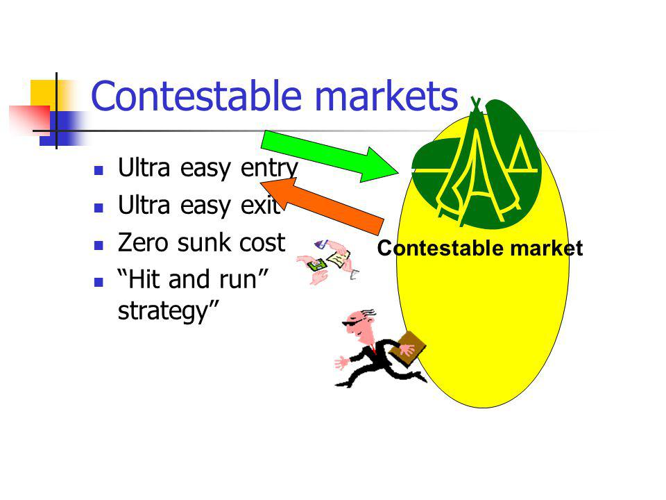Contestable markets Ultra easy entry Ultra easy exit Zero sunk cost Hit and run strategy Contestable market